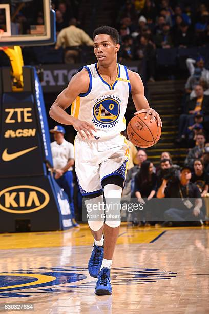 Patrick McCaw of the Golden State Warriors handles the ball against the Utah Jazz on December 20 2016 at ORACLE Arena in Oakland California NOTE TO...