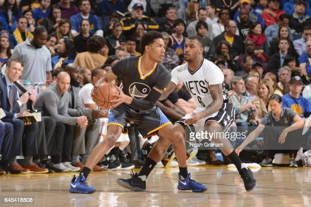 Patrick McCaw of the Golden State Warriors handles the ball against the Brooklyn Nets on February 25 2017 at ORACLE Arena in Oakland California NOTE...