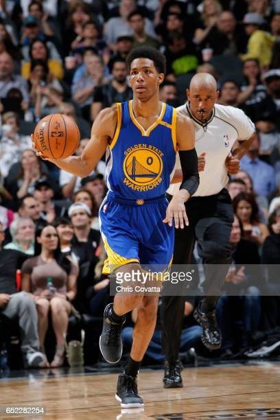Patrick McCaw of the Golden State Warriors handles the ball against the San Antonio Spurs on March 11 2017 at the ATT Center in San Antonio Texas...