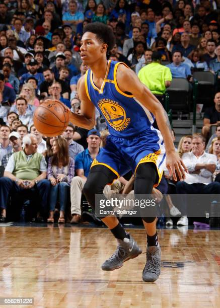 Patrick McCaw of the Golden State Warriors handles the ball against the Dallas Mavericks during the game on March 21 2017 at the American Airlines...