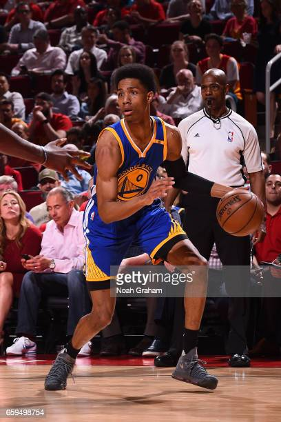 Patrick McCaw of the Golden State Warriors handles the ball against the Houston Rockets on March 28 2017 at the Toyota Center in Houston Texas NOTE...