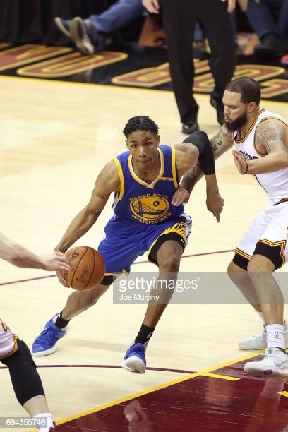 Patrick McCaw of the Golden State Warriors handles the ball against the Cleveland Cavaliers in Game Four of the 2017 NBA Finals on June 9 2017 at...