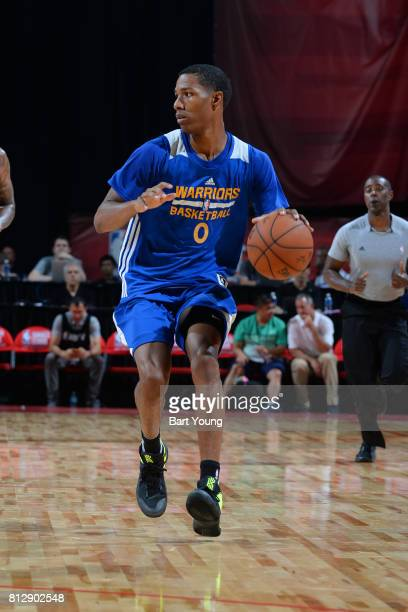 Patrick McCaw of the Golden State Warriors handles the ball against the Minnesota Timberwolves on July 11 2017 at the Thomas Mack Center in Las Vegas...