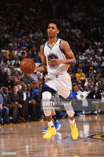 Patrick McCaw of the Golden State Warriors handles the ball during a game against the Orlando Magic on March 16 2017 at ORACLE Arena in Oakland...