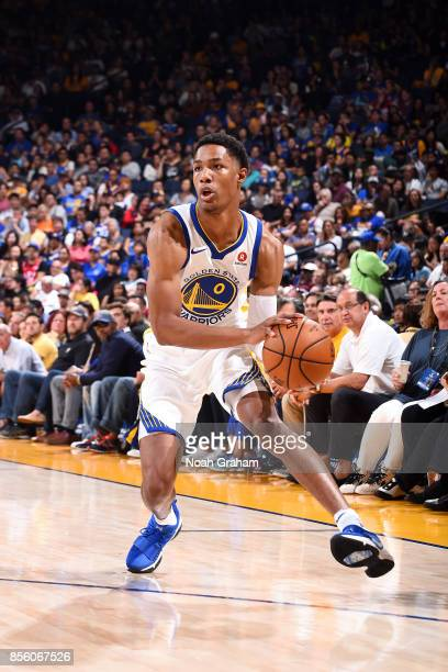 Patrick McCaw of the Golden State Warriors handles the ball during the game against the Denver Nuggets during a preseason game on September 30 2017...