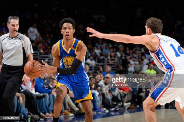 Patrick McCaw of the Golden State Warriors looks to pass the ball during a game against the Philadelphia 76ers on February 27 2017 at the Wells Fargo...