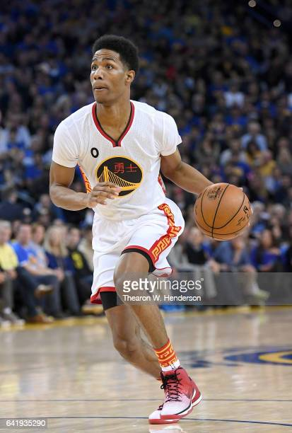 Patrick McCaw of the Golden State Warriors looks to pass the ball against the Chicago Bulls during an NBA basketball game at ORACLE Arena on February...