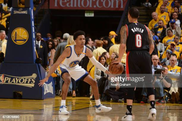 Patrick McCaw of the Golden State Warriors plays defense against the Portland Trail Blazers during Game Two of the Western Conference Quarterfinals...
