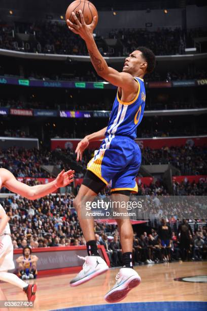 Patrick McCaw of the Golden State Warriors shoots a lay up against the LA Clippers on February 2 2017 at STAPLES Center in Los Angeles California...