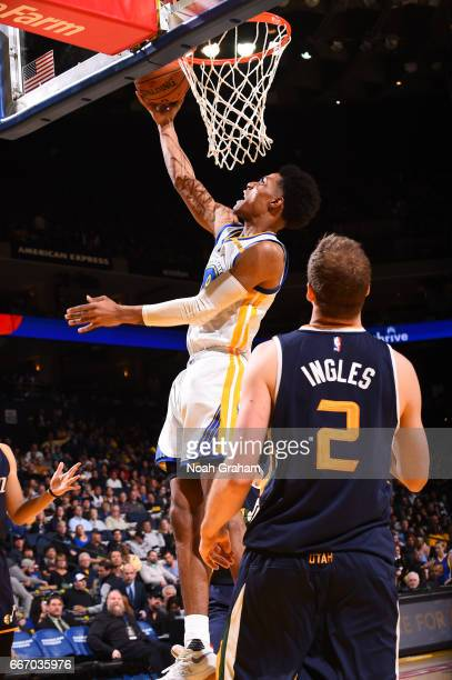Patrick McCaw of the Golden State Warriors shoots a lay up against the Utah Jazz on April 10 2017 at ORACLE Arena in Oakland California NOTE TO USER...