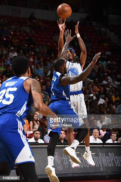 Patrick McCaw of the Golden State Warriors shoots against the Philadelphia 76ers during the 2016 NBA Las Vegas Summer League on July 12 2016 at The...