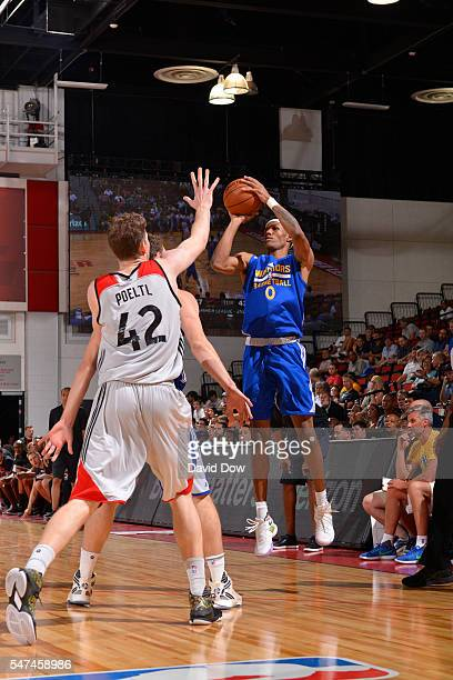 Patrick McCaw of the Golden State Warriors shoots against the Toronto Raptors during the 2016 NBA Las Vegas Summer League game on July 14 2016 at the...
