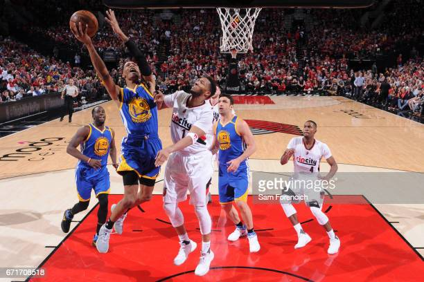 Patrick McCaw of the Golden State Warriors shoots the ball against the Portland Trail Blazers in Game Three of the Western Conference Quarterfinals...