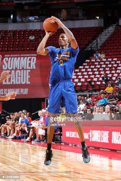 Patrick McCaw of the Golden State Warriors shoots the ball against the Minnesota Timberwolves during the 2017 Summer League on July 12 2017 at the...