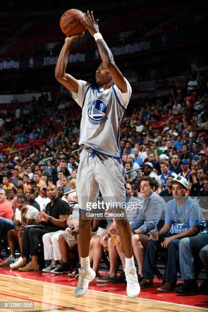 Patrick McCaw of the Golden State Warriors shoots the ball during the game against the Philadelphia 76ers during the 2017 Las Vegas Summer League on...