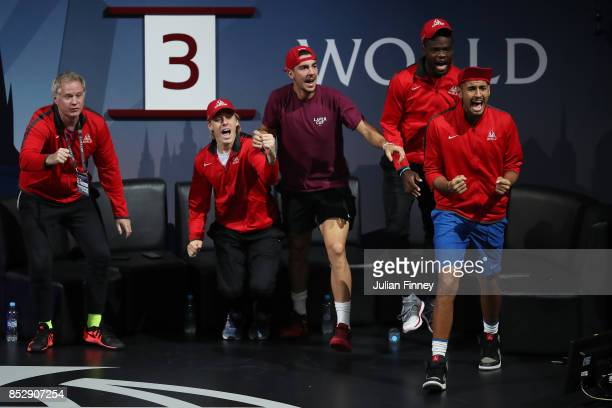 Patrick Mcenroe Denis Shapovalov Thanasi Kokkinakis Frances Tiafoe and Nick Kyrgios of Team World react during the mens doubles match between Jack...