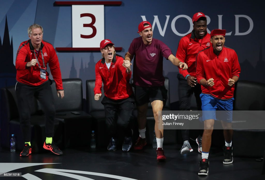 Patrick Mcenroe, Denis Shapovalov, Thanasi Kokkinakis, Frances Tiafoe and Nick Kyrgios of Team World react during the mens doubles match between Jack Sock and John Isner of Team World and Tomas Berdych and Marin Cilic of Team Europe on the final day of the Laver cup on September 24, 2017 in Prague, Czech Republic. The Laver Cup consists of six European players competing against their counterparts from the rest of the World. Europe will be captained by Bjorn Borg and John McEnroe will captain the Rest of the World team. The event runs from 22-24 September.