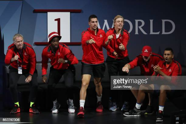 Patrick Mcenroe Frances Tiafoe Thanasi Kokkinakis Denis Shapovalov John Isner and Nick Kyrgios of Team World look on as Rafael Nadal of Team Europe...