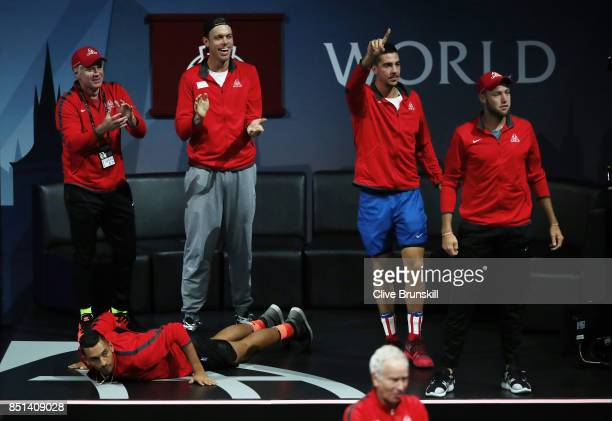 Patrick Mcenroe Sam Querrey Nick Kyrgios Thanasi Kokkinakis and Jack Sock of Team World reacts as Dominic Thiem of Team Europe plays his singles...