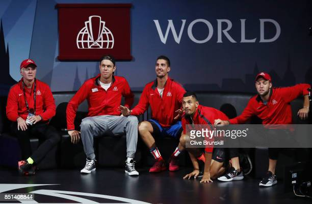 Patrick Mcenroe Sam Querrey Thanasi Kokkinakis Nick Kyrgios and Jack Sock of Team World reacts as Dominic Thiem of Team Europe plays his singles...