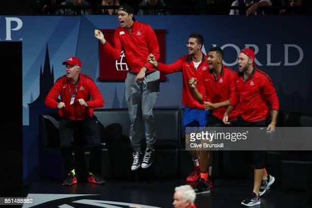Patrick Mcenroe Sam Querrey Thanasi Kokkinakis Nick Kyrgios and Jack Sock of Team World celebrate as John Isner of Team World wins a tie break in the...