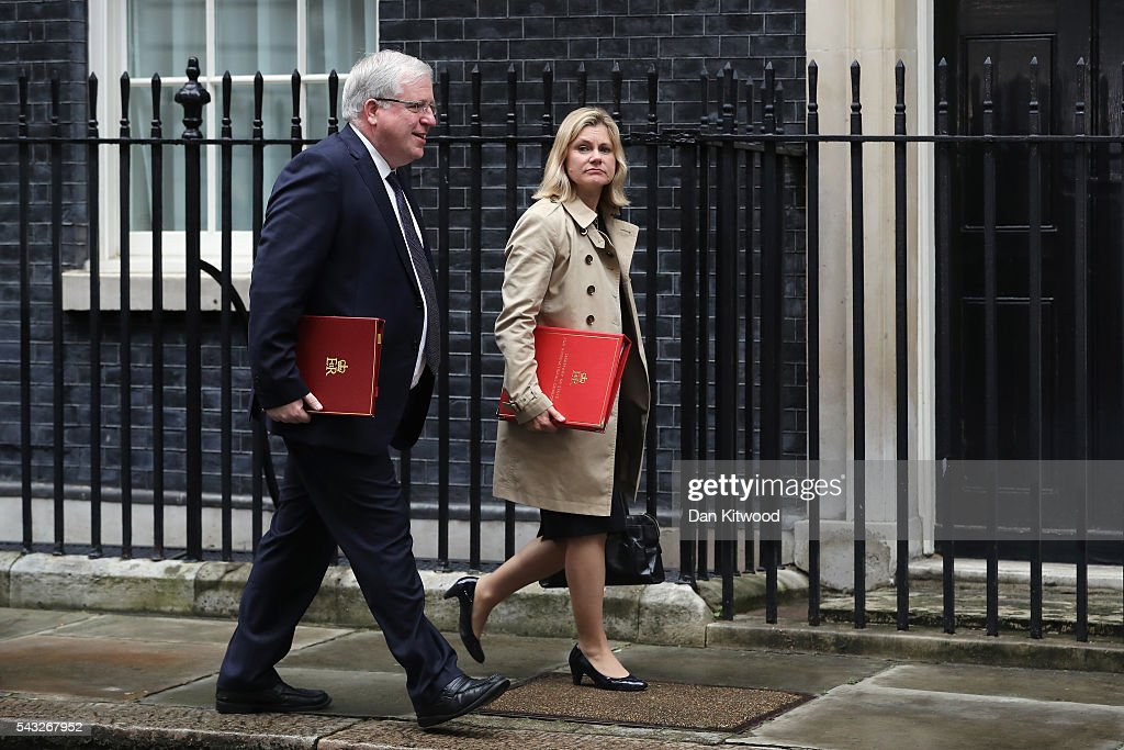 <a gi-track='captionPersonalityLinkClicked' href=/galleries/search?phrase=Justine+Greening&family=editorial&specificpeople=2466449 ng-click='$event.stopPropagation()'>Justine Greening</a>, Secretary of State for International Development (R) arrives for a cabinet meeting at Downing Street on June 27, 2016 in London, England. British Prime Minister David Cameron is due to chair an emergency Cabinet meeting this morning, after Britain voted to leave the European Union. Chancellor George Osborne spoke at a press conference ahead of the start of financial trading and outlining how the Government will 'protect the national interest' after the UK voted to leave the EU.