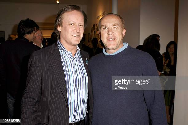 Patrick McMullan and Cassian Elwes during Damian Elwes 'Inside Picasso's Studio' Art Exhibition at MB in West Hollywood California United States