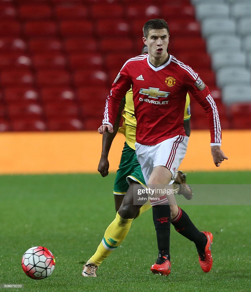 Patrick McNair of Manchester United U21s in action during the U21 Premier League match between Manchester United U21s and Norwich City U21s at Old Trafford on February 8, 2016 in Manchester, England.