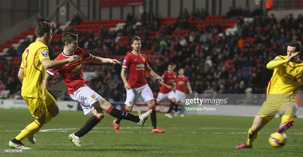 Patrick McNair of Manchester United U21s scores their second goal during the Barclays U21 Premier League match between Manchester United and Liverpool at Leigh Sports Village on January 26, 2015 in Leigh, Greater Manchester.