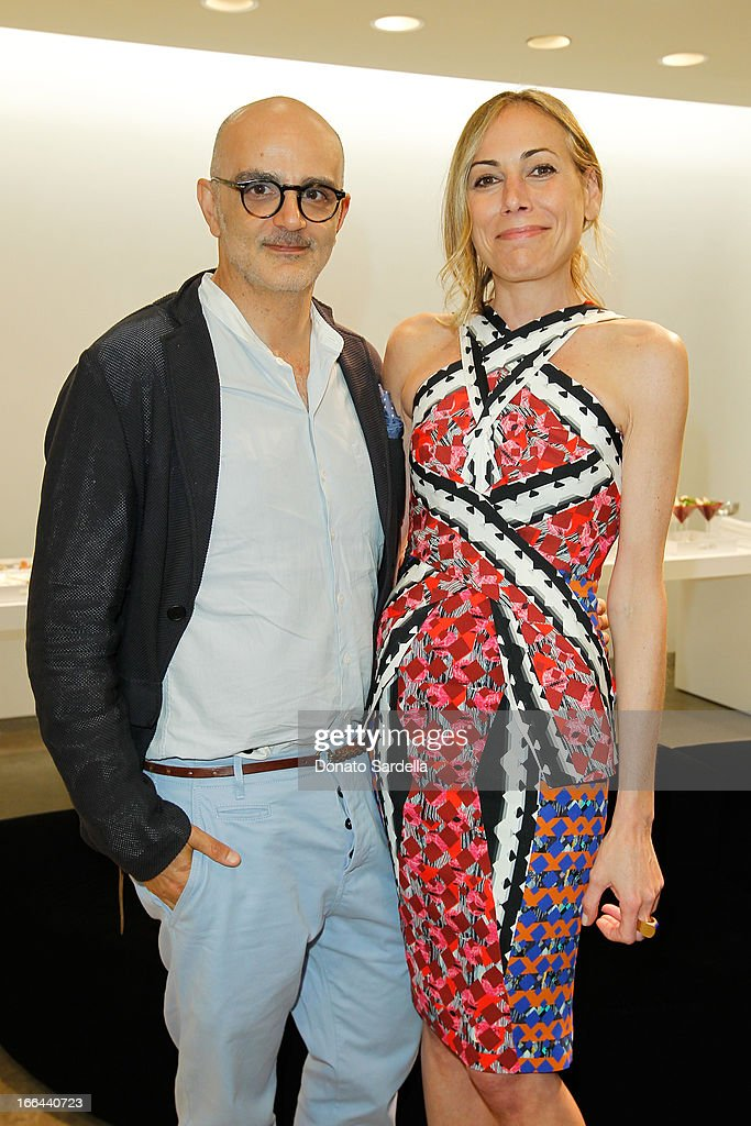 Patrick Milani and <a gi-track='captionPersonalityLinkClicked' href=/galleries/search?phrase=Angelique+Soave&family=editorial&specificpeople=5605220 ng-click='$event.stopPropagation()'>Angelique Soave</a> attend Saks Fifth Avenue presents Peter Pilotto at Saks Fifth Avenue Beverly Hills on April 12, 2013 in Beverly Hills, California.