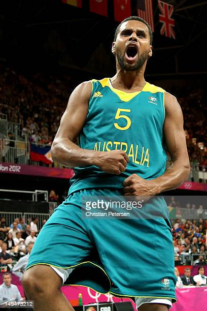 Patrick Mills of Australia reacts after a play against Brazil during their Men's Basketball game on Day 2 of the London 2012 Olympic Games at the...