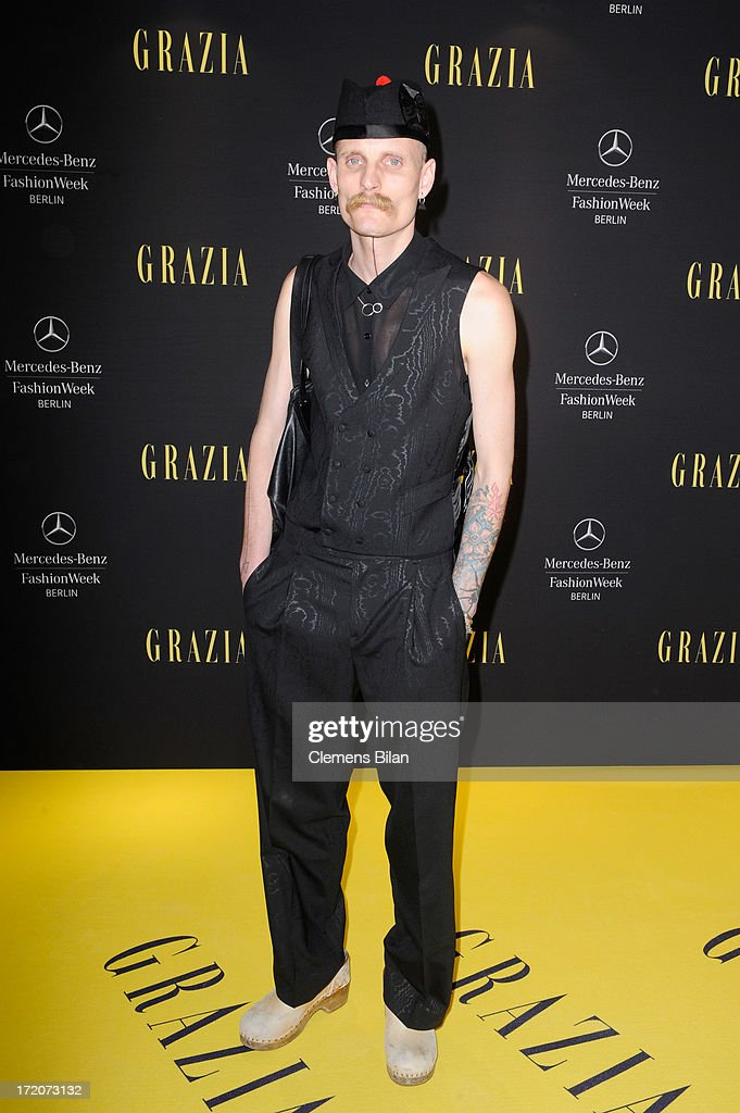 Patrick Mohr attends the Mercedes-Benz Fashion Week Berlin Spring/Summer 2014 Preview Show by Grazia at the Brandenburg Gate on July 1, 2013 in Berlin, Germany.