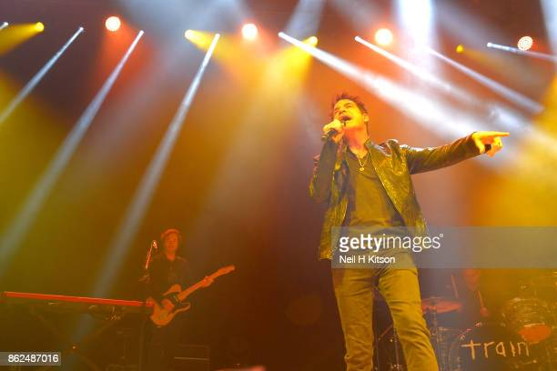 Patrick Monahan and Drew Shoals of Train perform at City Hall on October 16 2017 in Sheffield England