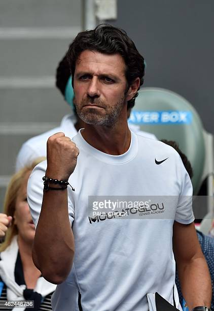 Patrick Mouratoglou coach to Serena Williams of the US celebrates after her victory in her women's singles semifinal match against Madison Keys of...