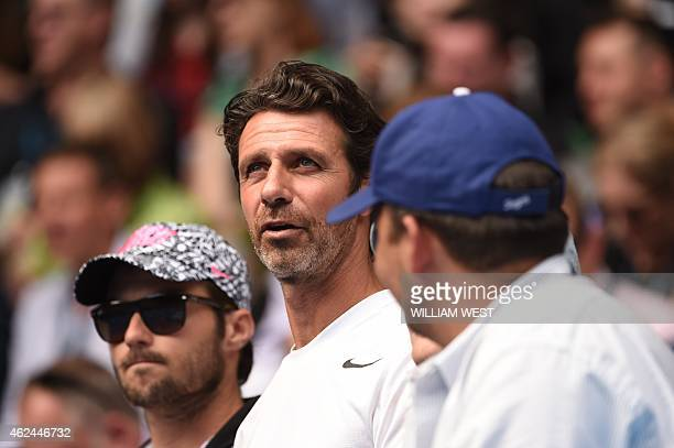 Patrick Mouratoglou coach to Serena Williams of the US looks on ahead of her women's singles semifinal match against Madison Keys of the US on day...
