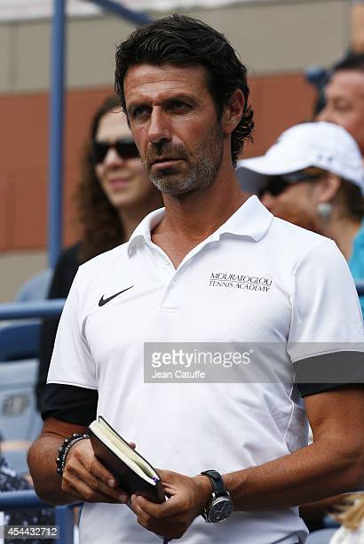 Patrick Mouratoglou of France coach and boyfriend of Serena Williams attends her match on Day 6 of the 2014 US Open at USTA Billie Jean King National...