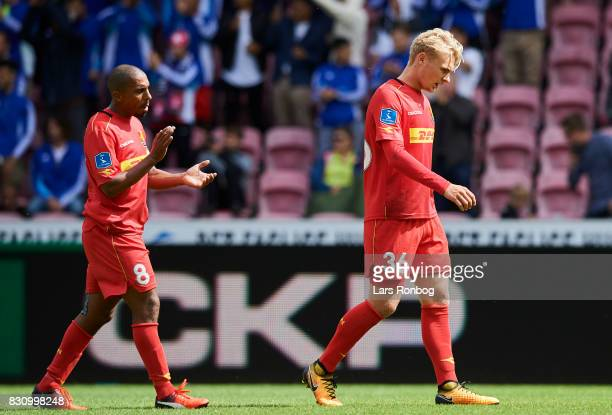 Patrick Mtiliga and Victor Nelsson of FC Nordsjalland looks dejected during the Danish Alka Superliga match between FC Midtjylland and FC...