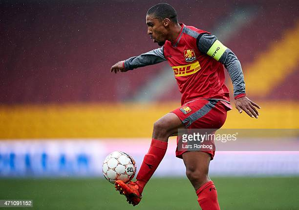 Patrick Mtiliga of FC Nordsjalland controls the ball during the Danish Alka Superliga match between FC Nordsjalland and Silkeborg IF at Farum Park on...