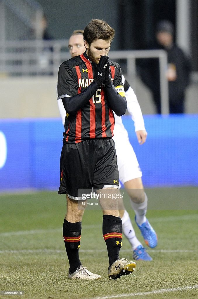 Patrick Mullins #15 of the Maryland Terrapins reacts after missing a shot in the second half against the Notre Dame Fighting Irish during the 2013 NCAA Men's College Cup at PPL Park on December 15, 2013 in Chester, Pennsylvania. Notre Dame won the championship 2-1.