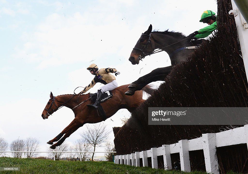 Patrick Mullins on Back in Focus clear the 3rd last on their way to victory in theJohn Oaksey National Hunt Steeple Chase at Cheltenham Racecourse on March 13, 2013 in Cheltenham, England.