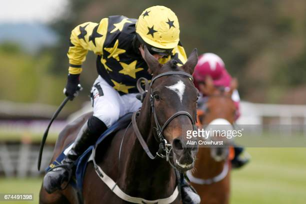 Patrick Mullins riding Bacardys clear the last to win The Tattersalls Ireland Champion Novice Hurdle Race at Punchestown racecourse on April 28 2017...