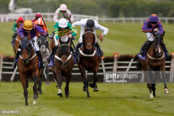 Patrick Mullins riding Wicklow Brave clear the last to win The BETDAQ Punchestown Champion Hurdle at Punchestown racecourse on April 28 2017 in Naas...