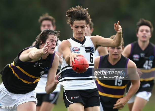 Patrick Naish of the Knights kicks during the round four TAC Cup match between the Northern Knights and the Murray Bushrangers at RAMS Arena on April...
