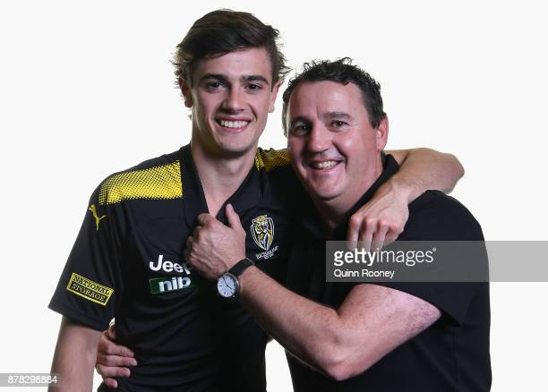 Patrick Naish of the Tigers poses with his father Chris Naish during the 2017 AFL Draft at Sydney Showgrounds on November 24 2017 in Sydney Australia