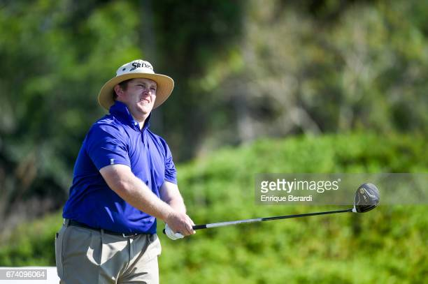 Patrick Newcomb of the United States tees off on the 18th hole during the final round of the PGA TOUR Latinoamérica Honduras Open presented by Indura...
