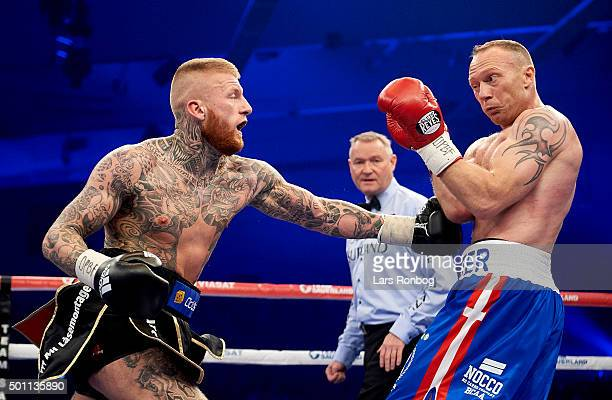 Patrick Nielsen of Denmark fights and wins against Rudy Markussen of Denmark in the Super Middleweight match during the Sauerland Promotion Boxing...