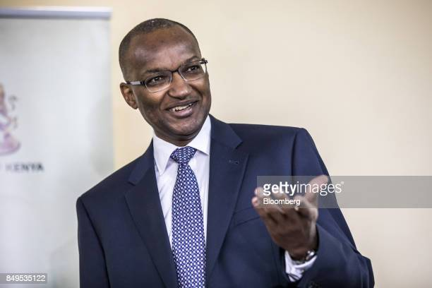 Patrick Njoroge governor of Kenya's central bank gestures as he speaks during a news conference at the central bank headquarters in Nairobi Kenya on...