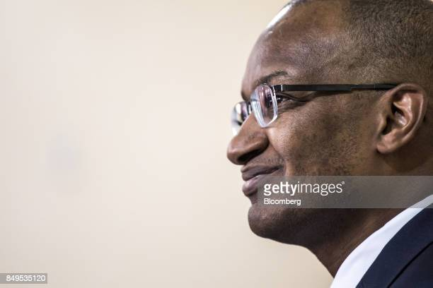 Patrick Njoroge governor of Kenya's central bank looks on during a news conference at the central bank headquarters in Nairobi Kenya on Tuesday Sept...