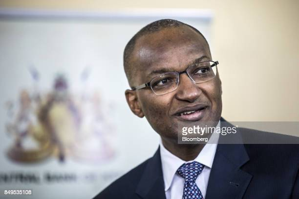 Patrick Njoroge governor of Kenya's central bank speaks during a news conference at the central bank headquarters in Nairobi Kenya on Tuesday Sept 19...