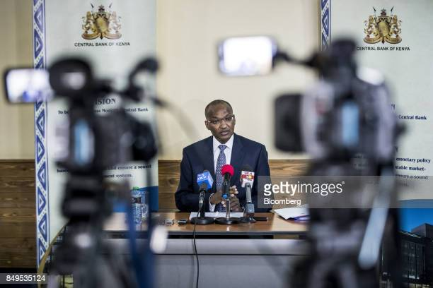 Patrick Njoroge governor of Kenya's central bank speaks in front of television cameras during a news conference at the central bank headquarters in...